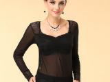 新款春秋女装黑色蕾丝褶皱v领打底衫长袖女t恤纱衣厂家直销948