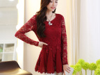 2014秋季新风潮新款韩版打底衫圆领长袖性感蕾丝拼接雪纺衫