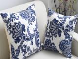 厂家直销新潮时尚床上用品青花复古沙发汽车靠枕抱枕亚麻靠枕批发