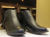 2014新款欧美低跟圆头短靴 粗跟磨砂人造牛皮双拉链中帮女靴子