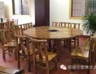 农家乐餐厅桌椅复古炭烧火烧木圆台火锅台八仙桌