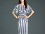 尘颜2015夏季新款条纹修身显瘦雪纺中裙五分袖连衣裙D70有大码