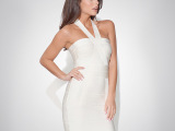 明星同款性感挂脖修身百搭纯色绷带裙显瘦时尚短款晚礼服H048预售