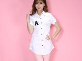 2015新款短袖女衬衫 纯棉衬衫外贸原单衬衫女 中长款白色衬衫批