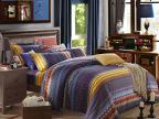 秋冬床上用品加厚全棉绣花磨毛双人保暖条纹简约纯棉家纺四件套