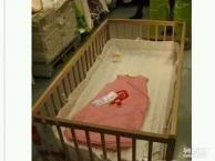 纯实木婴儿床无油漆宜家购买,基本可以说没用过,宝宝大了,