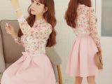 2015秋装甜美碎花雪纺长袖衬衫 粉色百褶半身裙两件套连衣裙