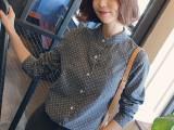 2015新款韩版衬衫女式复古时尚立领小波点衬衫百搭休闲衬衣女长袖