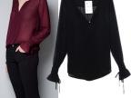 ZA*RA  欧美新款女装批发 袖口系带宽松长袖衬衣雪纺衬衫