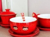结婚喜庆对碗陶瓷 红釉中国娃娃子孙碗骨瓷