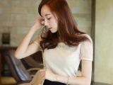 2014夏季新款 韩国热卖淑女风纯色订珠圆领蕾丝短袖上衣