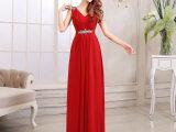 批发零售礼服2015新款新娘修身双肩长款结婚红色敬酒服晚礼服韩版