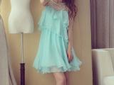 2014夏新款韩版高端定制白色钉珠蛋糕裙雪纺裙连衣裙女抹胸裙