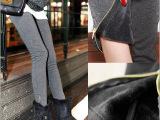 YB109 秋冬新款 2014韩国原单加厚加绒打底裤 拉链打底裤