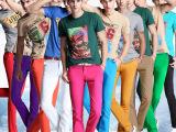 [爆款]  K187新款秋冬男休闲纯棉英伦潮彩修身长裤粉红色20