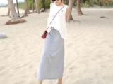 2014夏季新款 女士莫代尔包臀裙 长裙 开叉裙 长款弹力一步裙