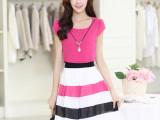 2014夏装新款大码女装修身韩版条纹裙子假两件雪纺连衣裙厂家直销