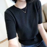 9元夏季新款韩版圆领针织短袖 女装T恤针织衫 厂家直销