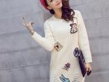 2015秋冬季新款韩版女装毛衣套头加厚保暖中长款流苏卡通针织衫
