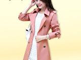 杭州女装2014秋装新品女装韩版气质修身中长款女式风衣翻领外套女