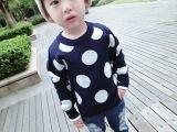 外贸童装毛衣秋冬季针织衫韩版针织套头儿童加厚毛线衣波点童毛衣