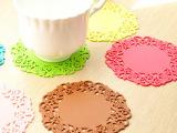 7414 创意家居用品  时尚镂空硅胶杯垫 彩色防滑隔热垫 批发