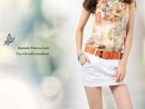 2013韩版新款夏装荷叶领印花短袖 雪纺衫百搭衬衫女上衣