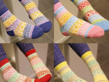 儿童袜子菱形羊毛保暖袜宝宝袜子男女 拼色菱型格针织学生 成人