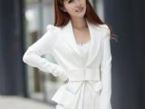 2014春装新款小西服 女时尚白色大蝴蝶结修身长袖小西装外套批发