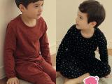 童套装一件代发 春秋款韩版男女童星星内衣两件套套装家居服4404