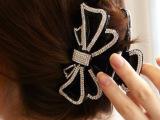 韩国进口饰品奢华精致镶钻满钻水钻蝴蝶结发夹抓夹大号发抓 发饰