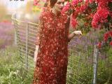 夏装新款2015真丝连衣裙长裙波西米亚度假沙滩裙女印花裙