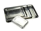 不锈钢方盘4CM托盘 食物盘 烧烤盘 批发 浅烘焙长方托盘 平底