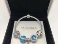 潘多拉Pandora冰河蓝色银手链手环串饰791725NGL
