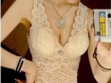 2014春款新 无钢圈文胸吊带背心带胸垫 性感深V领低胸镂空全蕾