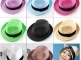 韩版 夏天男女士 太阳草编礼帽爵士帽子遮阳帽 情侣帽 沙滩帽批发