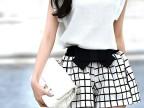 2014夏新款欧洲全新优质立体上衣面料+格子短裤休闲套装微信代理
