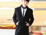 李敏镐同款羊毛呢秋季新款男式羊毛毛呢大衣中长款韩版时尚潮男