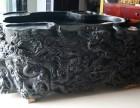 加工定做 黑绿玉药王石大型玉雕摆件九龙茶海鱼缸