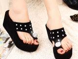 2014新款 女式带钻坡跟人字拖 夹脚厚底带钻时尚流行拖鞋