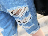 破洞五分牛仔中裤女式夏季新款韩版大码潮个性宽松薄牛仔裤代批发