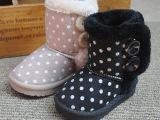 冬靴外贸原单英伦复古圆点儿童雪地靴魔术贴棉鞋棉靴保暖防滑