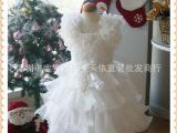 外贸爆款白色女童礼服  花童礼服  宝宝连衣裙  女孩公主裙