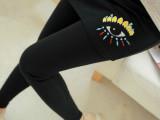 厂家直销秋冬新款韩版加绒加厚打底裤 刺绣眼睛裙裤 假两件裤裙