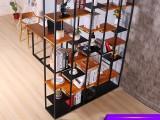 纯熙铁艺屏风隔断装饰置物架书架玄关客厅隔断柜实木隔板架子置物