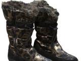 樱花豹纹雪地靴亮面仿水高邦靴韩牌女靴保暖