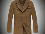 秋冬加厚大码呢料风衣男 假两件可卸领风衣外套单排扣中长款