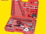 供应121件组套工具 机修五金组合工具套装 汽修汽保工具箱200