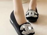 批发新款女鞋奢华水钻单鞋 欧美杂志款坡跟厚底鞋松糕鞋浅口女鞋