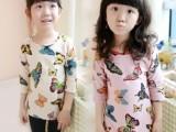 童装2014 新款春装女童七分袖打底衫 蝴蝶图案儿童中长款T恤
